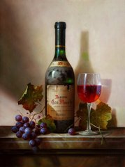Still life with grapes and red wine