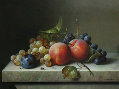 Still life with peaches plums and black and white grapes