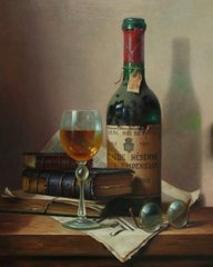 Still life with wine and books