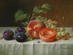 Still life with peaches plums and grapes
