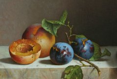 Still life with peaches and plums