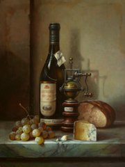 Still life with riesling cheese and grapes