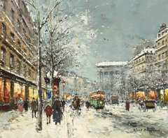 Бульвар Мадлен зимой (A view of the Boulevard de la Madeleine in winter)