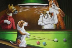 Dogs Playing Pool