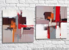Abstraction canvas gray, red, orange and black